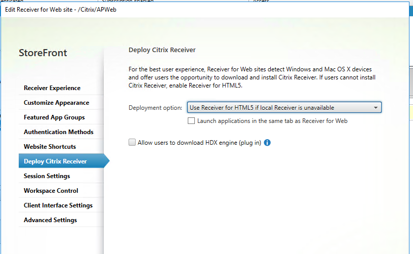 "Choosing ""HTML5 Receiver"" vs ""Native Receiver"" dynamically through"