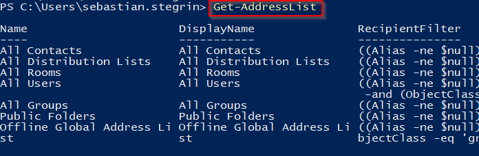 Get-AddressList