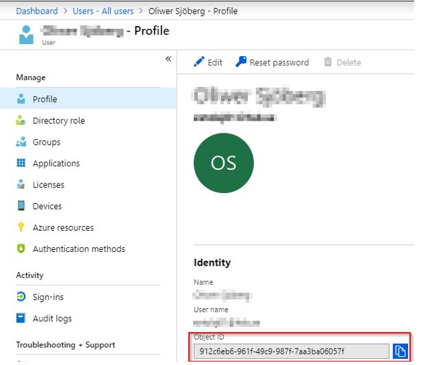 Granting permissions for single users to Azure AD connector