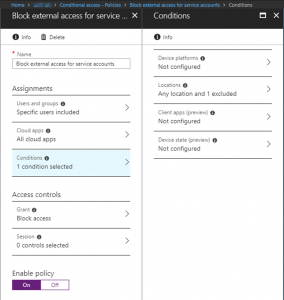 Conditional Access policy - Block external access for service accounts