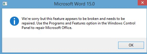 Office Word Something Went Wrong