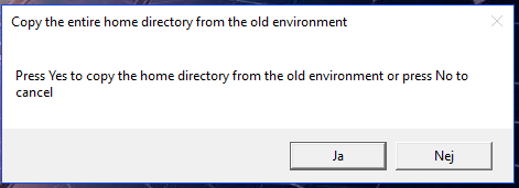 Popup - Copy the entire home directory from the old environment