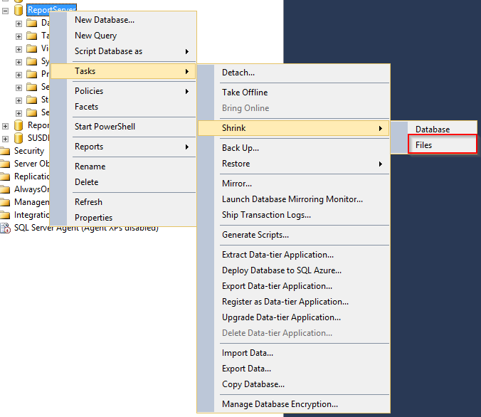 SCCM – Shrink the SQL Server Reporting Services log and change the
