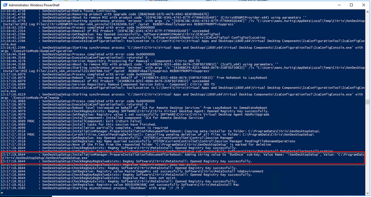 VDA Update Powershell Log