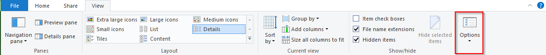 File Explorer - Options