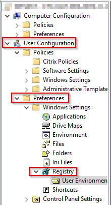 Gorup Policy Preferences - User Configuration - Registry