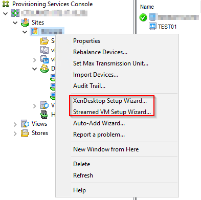 Provisioning Console - Streamed VM Setup Wizard