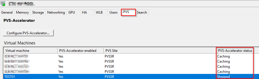 XenCenter - PVS Tab